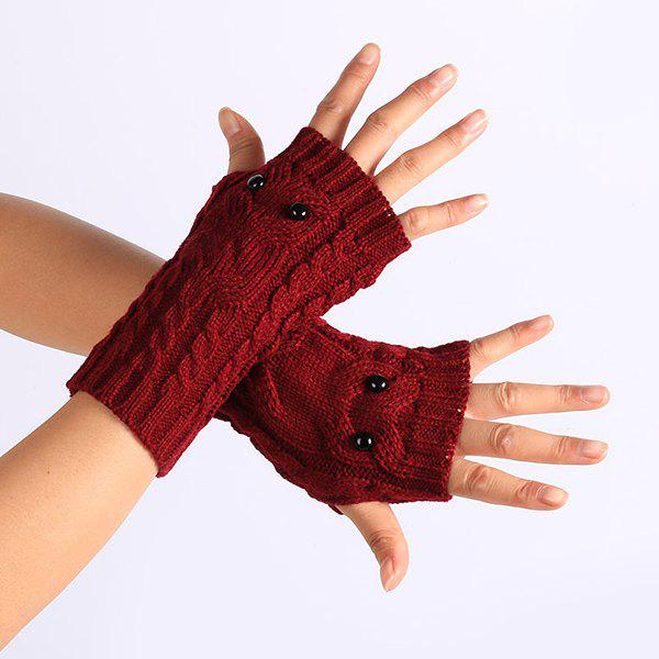 Twist Knitted Owl Fingerless GlovesACCESSORIES<br><br>Color: WINE RED; Group: Adult; Gender: For Women; Style: Fashion; Glove Length: Wrist; Pattern Type: Animal; Material: Acrylic; Weight: 0.052kg; Package Contents: 1 x Gloves(Pair);
