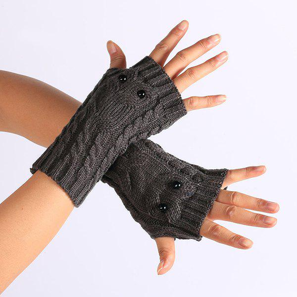 Trendy Twist Knitted Owl Fingerless Gloves