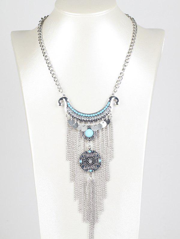Bohemian Rhinestone Chain Fringe NecklaceJEWELRY<br><br>Color: SILVER; Item Type: Pendant Necklace; Gender: For Women; Metal Type: Alloy; Style: Trendy; Shape/Pattern: Others; Length: 45cm; Weight: 0.080kg; Package Contents: 1 x Necklace;