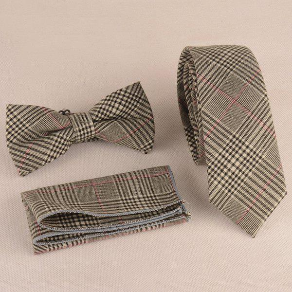 Chic Plaid Print Tie Pocket Square and Bow Tie