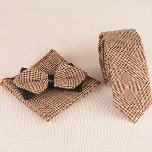 Trendy Plaid Print Tie Pocket Square and Bow Tie