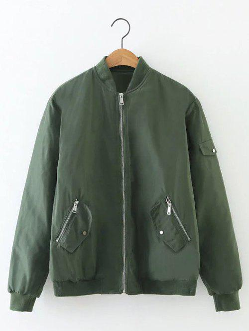Zip Relaxed Up Bomber Jacket