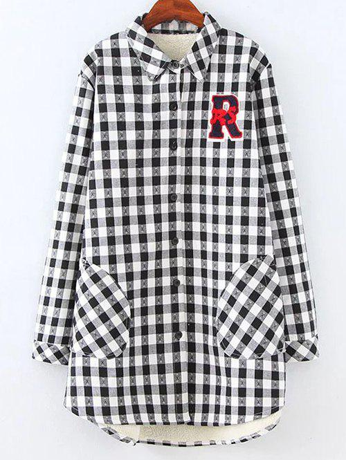 c394b0c169997 2018 Plus Size Fleece Lined Checked Shirt In White black 3xl ...