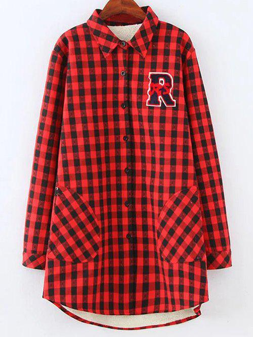 Trendy Plus Size Fleece Lined Checked Shirt