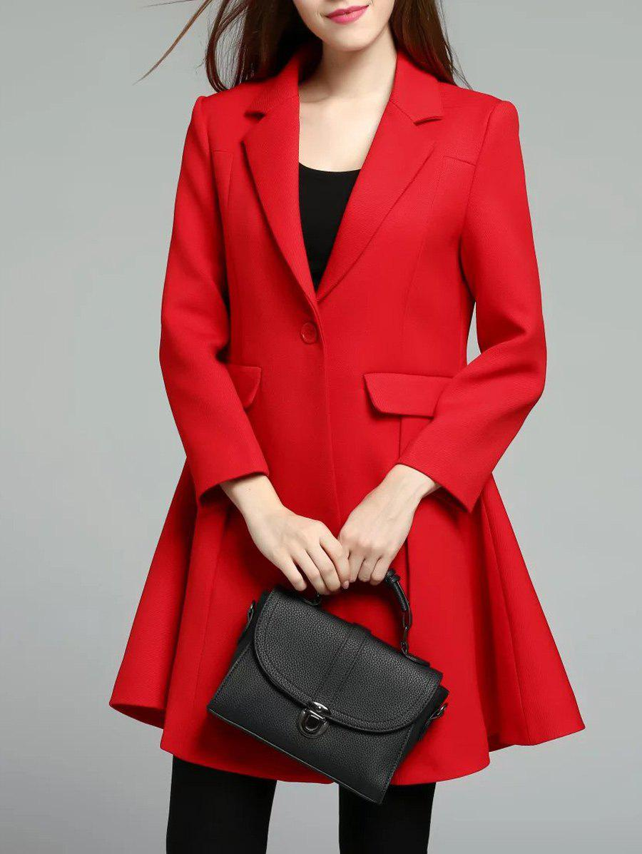 Affordable One Button Lapel Skirted Coat