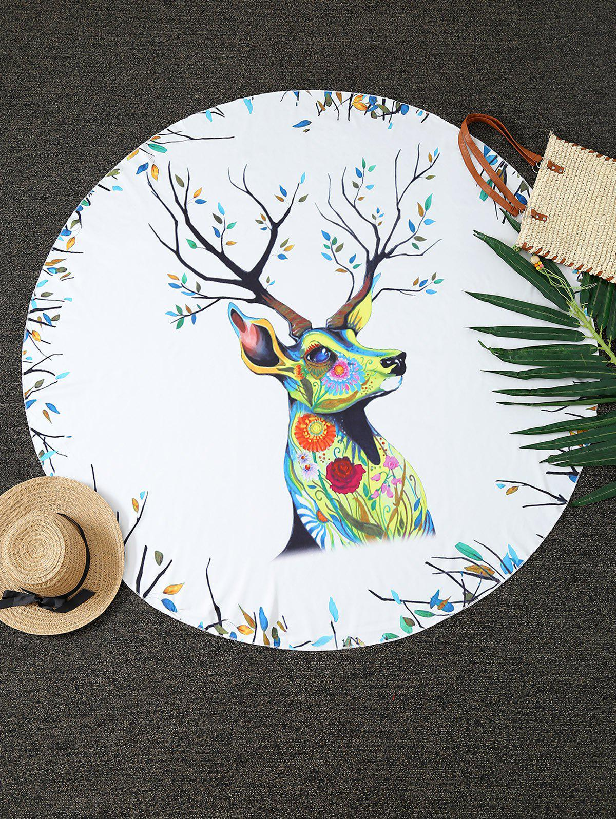 Chic Christmas Reindeer Print Round Blanket Throw