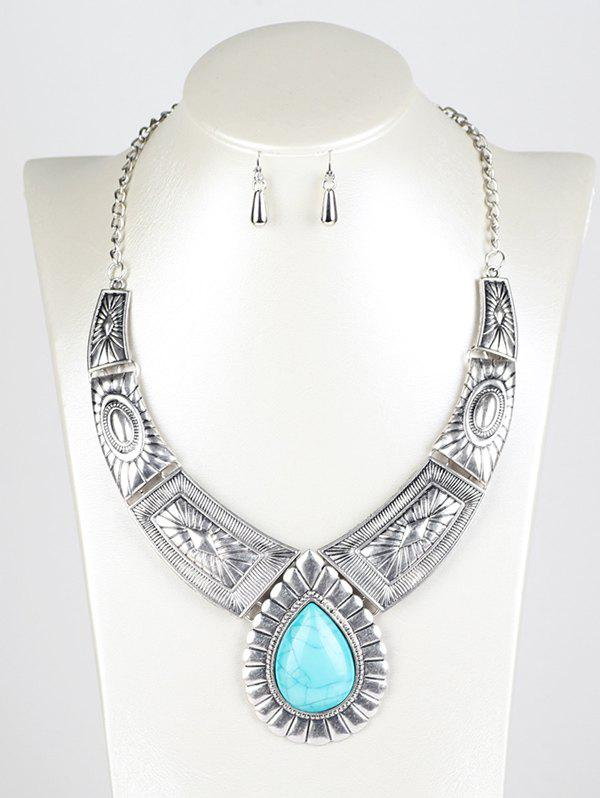 Faux Turquoise Water Drop Jewelry SetJEWELRY<br><br>Color: SILVER; Item Type: Pendant Necklace; Gender: For Women; Metal Type: Alloy; Style: Trendy; Shape/Pattern: Water Drop; Length: 40cm; Weight: 0.080kg; Package Contents: 1 x Necklace  1 x Earrings (Pair);