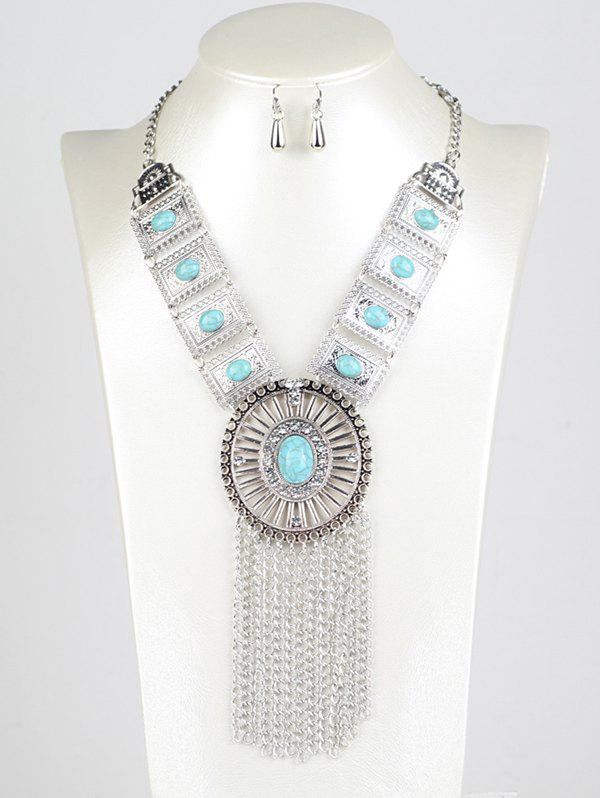 Round Chain Fringe Jewelry SetJEWELRY<br><br>Color: BLUE; Item Type: Pendant Necklace; Gender: For Women; Metal Type: Alloy; Style: Trendy; Shape/Pattern: Round; Weight: 0.100kg; Package Contents: 1 x Necklace  1 x Earrings (Pair);