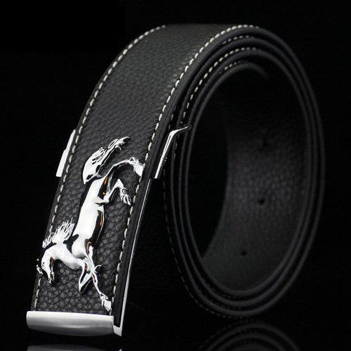 Unique Polished Horse Hidden Pin Buckle PU Belt