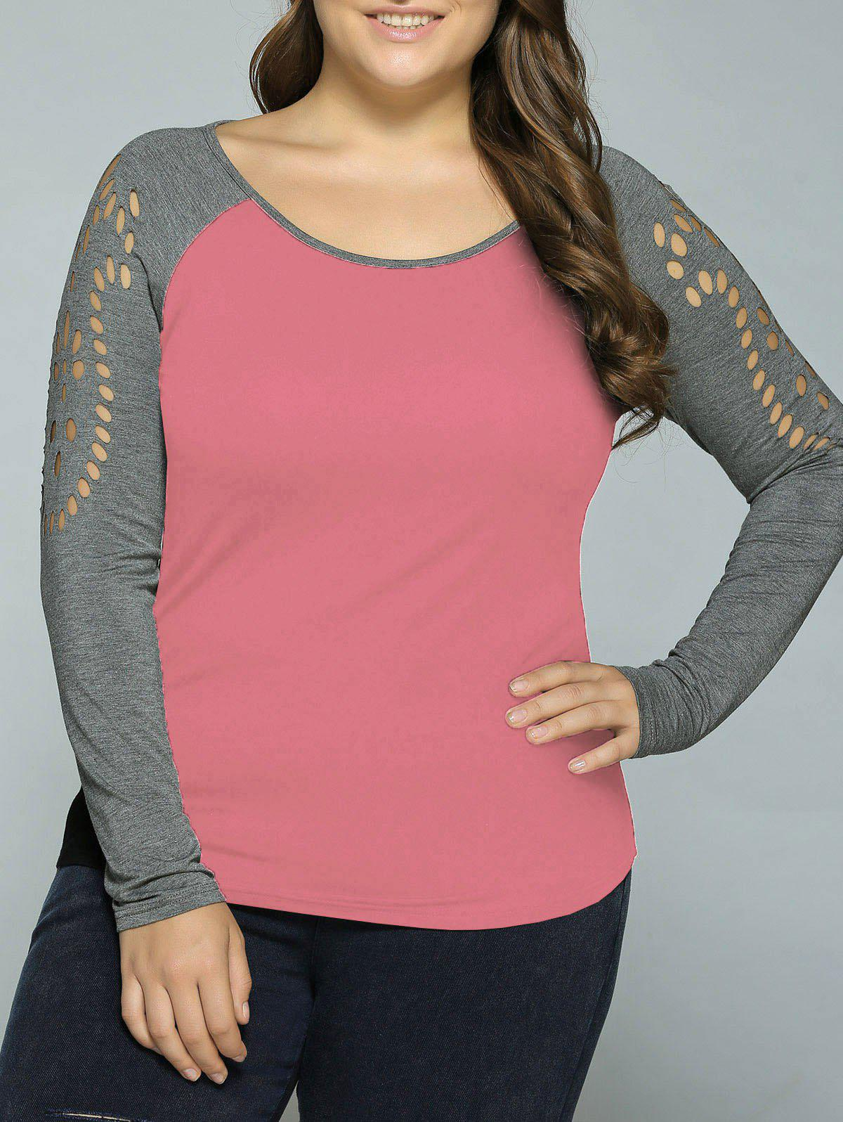 Plus Size Hollow Out Raglan Sleeve T-ShirtWOMEN<br><br>Size: 5XL; Color: PINK; Material: Rayon,Spandex; Shirt Length: Regular; Sleeve Length: Full; Collar: Scoop Neck; Style: Casual; Season: Fall,Spring,Summer; Pattern Type: Solid; Weight: 0.370kg; Package Contents: 1 x T-Shirt;
