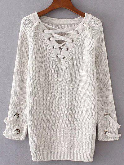 Trendy V Neck Lace Up Long Sweater