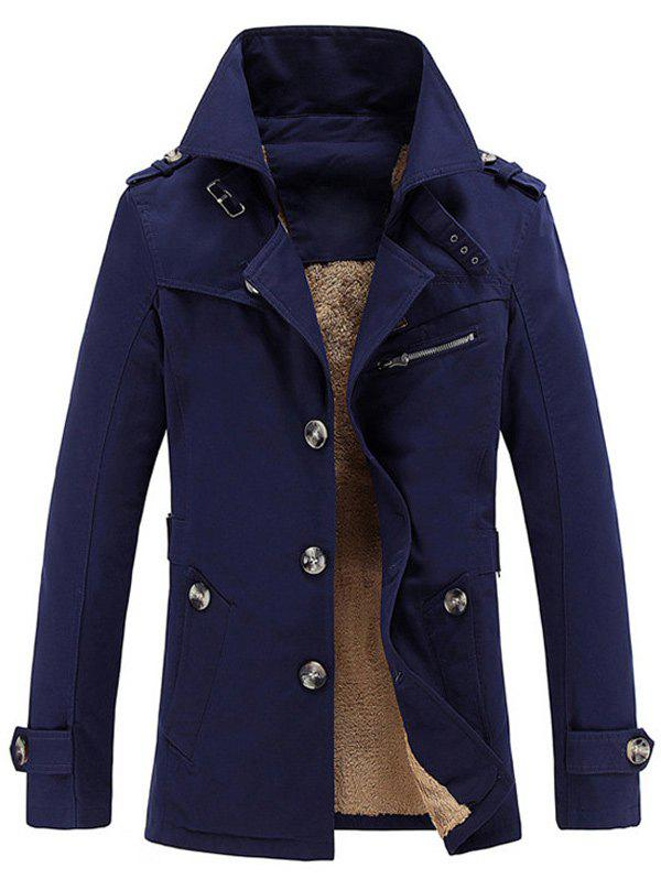 Turn-Down Collar Single-Breasted Zip Embellished Fleece CoatMEN<br><br>Size: 3XL; Color: DEEP BLUE; Clothes Type: Trench; Style: Fashion; Material: Cotton,Polyester; Collar: Turn-down Collar; Shirt Length: Long; Sleeve Length: Long Sleeves; Season: Winter; Weight: 1.0800kg; Package Contents: 1 x Coat;