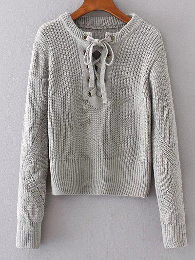 Shops Round Neck Lace Up Sweater
