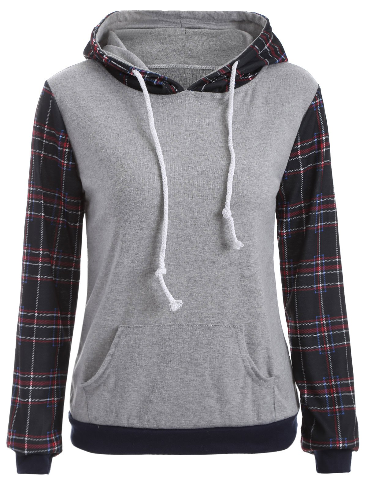 Store Pocket Checked Hoodie