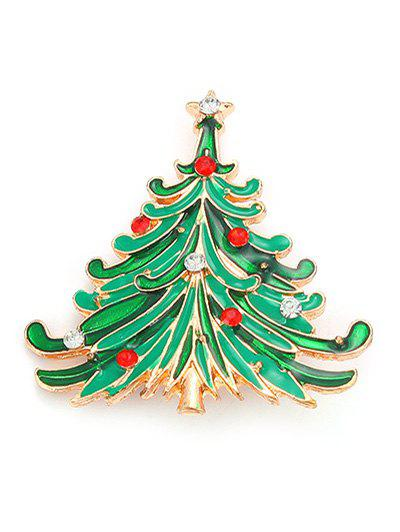 Rhinestone Pentagram Christmas Tree BroochJEWELRY<br><br>Color: GREEN; Brooch Type: Brooch; Gender: For Women; Style: Trendy; Shape/Pattern: Plant; Length: 4CM; Weight: 0.030kg; Package Contents: 1 x Brooch;