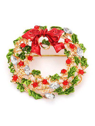 Rhinestone Bows Leaf Christmas BroochJEWELRY<br><br>Color: GOLDEN; Brooch Type: Brooch; Gender: For Women; Style: Trendy; Shape/Pattern: Plant; Length: 4CM; Weight: 0.030kg; Package Contents: 1 x Brooch;