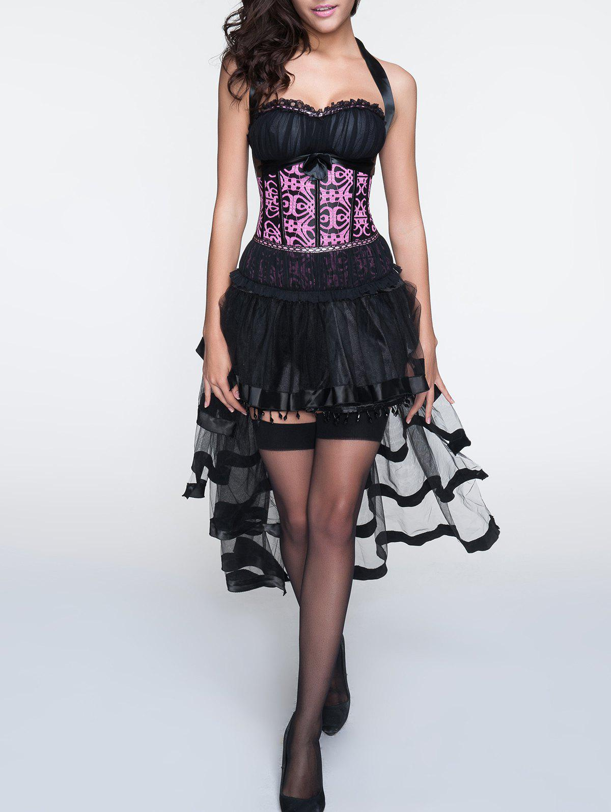 Outfit Halter Patchwork Corset + Asymmetrical Skirt Twinset
