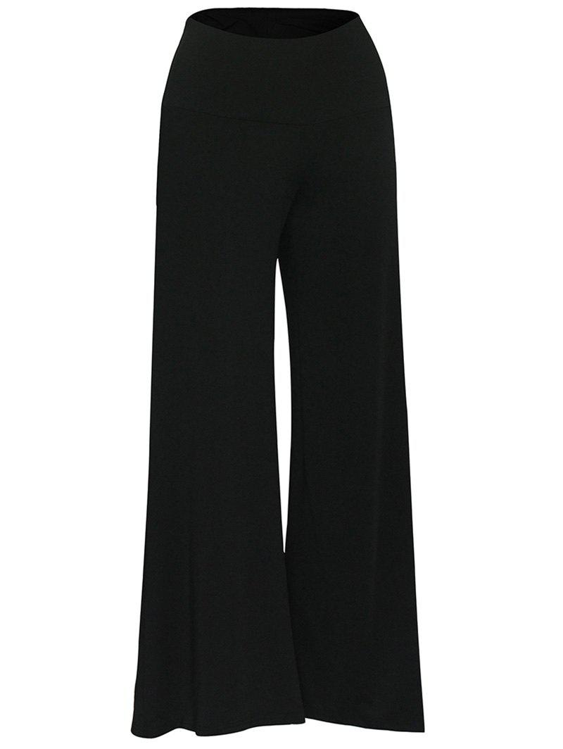 Elastic Waistband Palazzo Scrub PantsWOMEN<br><br>Size: XL; Color: BLACK; Style: Casual; Length: Normal; Material: Cotton Blend; Fit Type: Straight; Waist Type: Mid; Closure Type: Zipper Fly; Pattern Type: Solid; Pant Style: Wide Leg Pants; Weight: 0.3700kg; Package Contents: 1 x Pants;