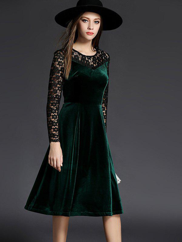 Discount Long Sleeve Lace Spliced Knee Length Flare Dress