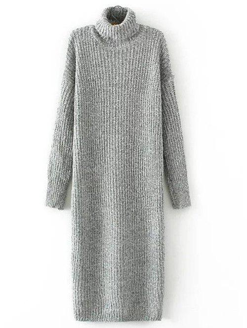 Turtle Neck Long Jumper Dress with SleevesWOMEN<br><br>Size: ONE SIZE; Color: GRAY; Style: Casual; Material: Cotton Blend,Polyester; Silhouette: Sheath; Dresses Length: Mid-Calf; Neckline: Turtleneck; Sleeve Length: Long Sleeves; Embellishment: Vintage; Pattern Type: Solid; Elasticity: Elastic; With Belt: No; Season: Fall,Winter; Weight: 0.749kg; Package Contents: 1 x  Dress;