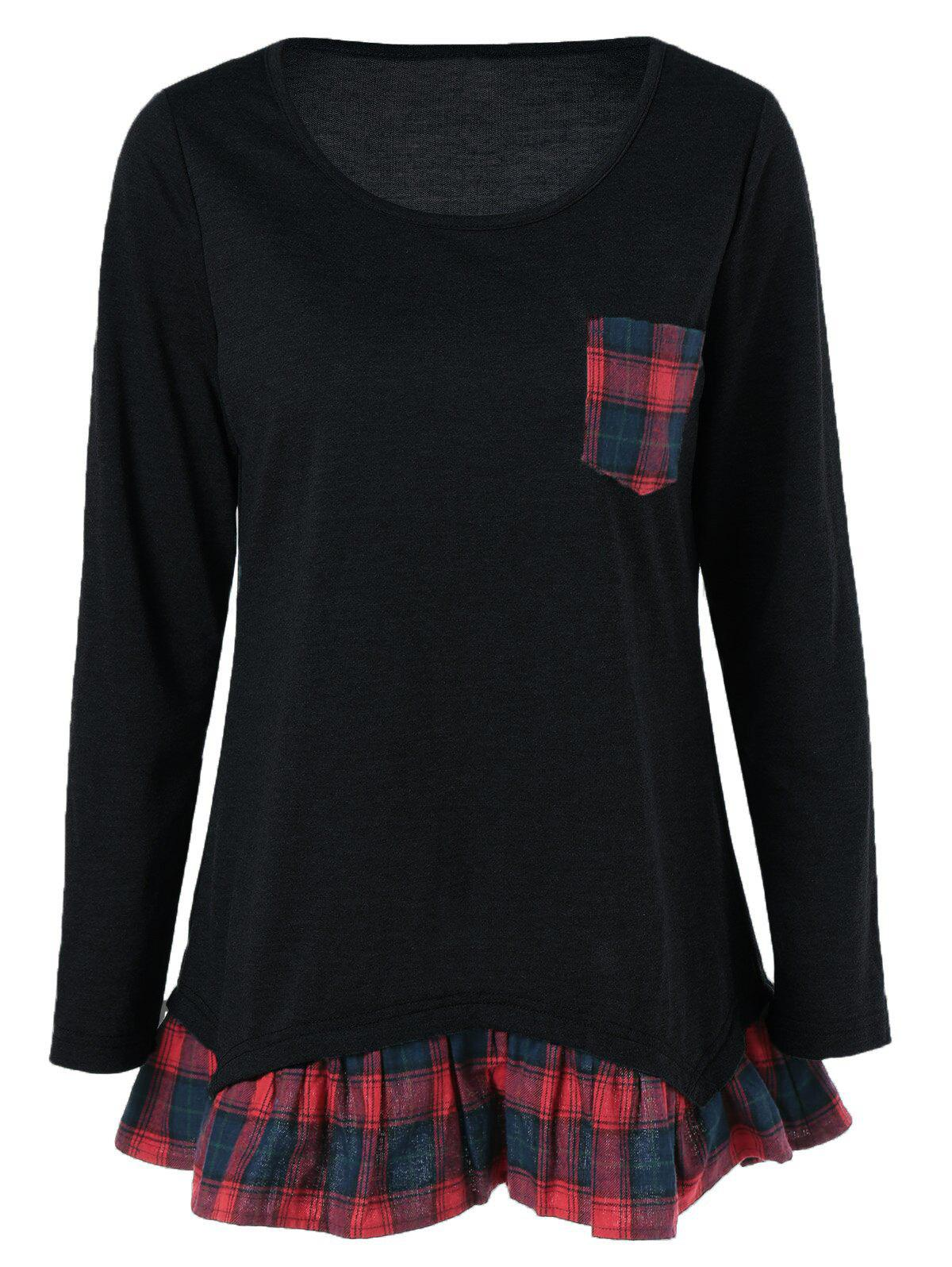 Plaid Print Pocket Falbala BlouseWOMEN<br><br>Size: XL; Color: BLACK; Style: Casual; Material: Polyester; Shirt Length: Long; Sleeve Length: Full; Collar: Scoop Neck; Pattern Type: Plaid; Season: Fall,Spring,Summer; Weight: 0.370kg; Package Contents: 1 x Blouse;