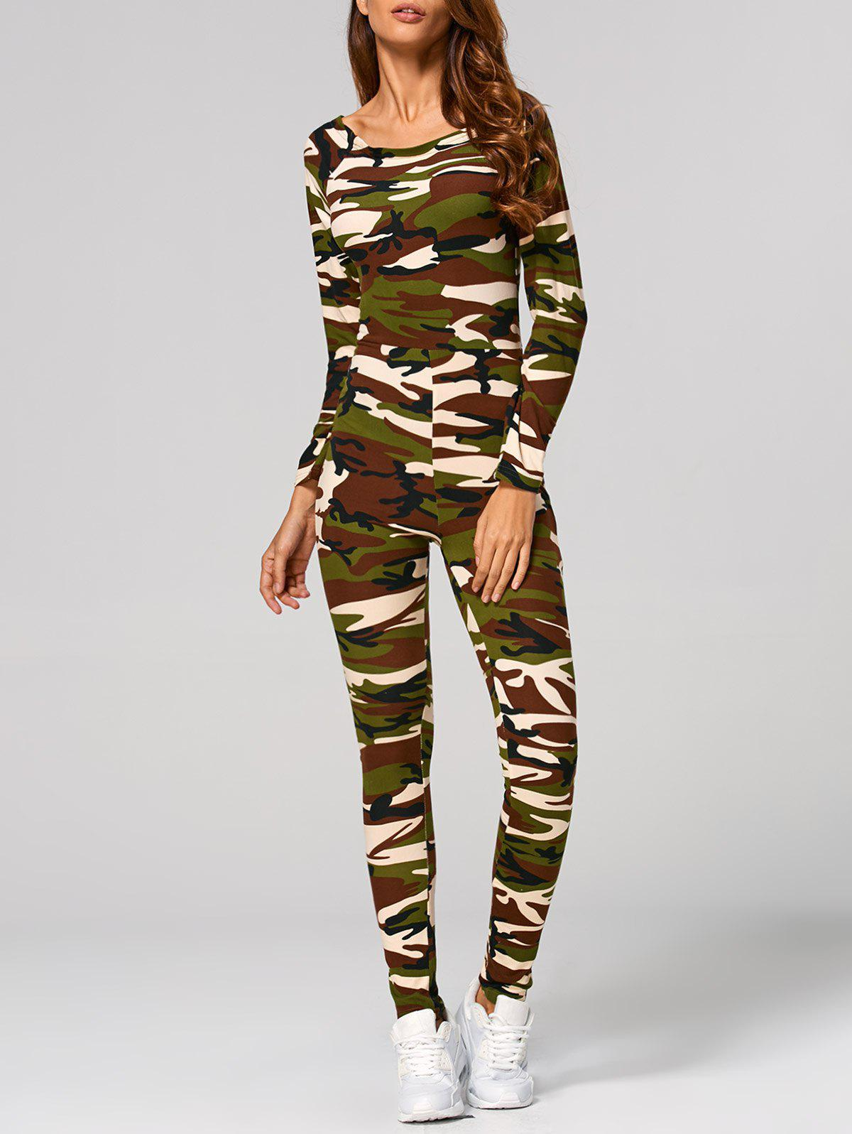Latest Long Sleeve Camouflage Print Jumpsuit