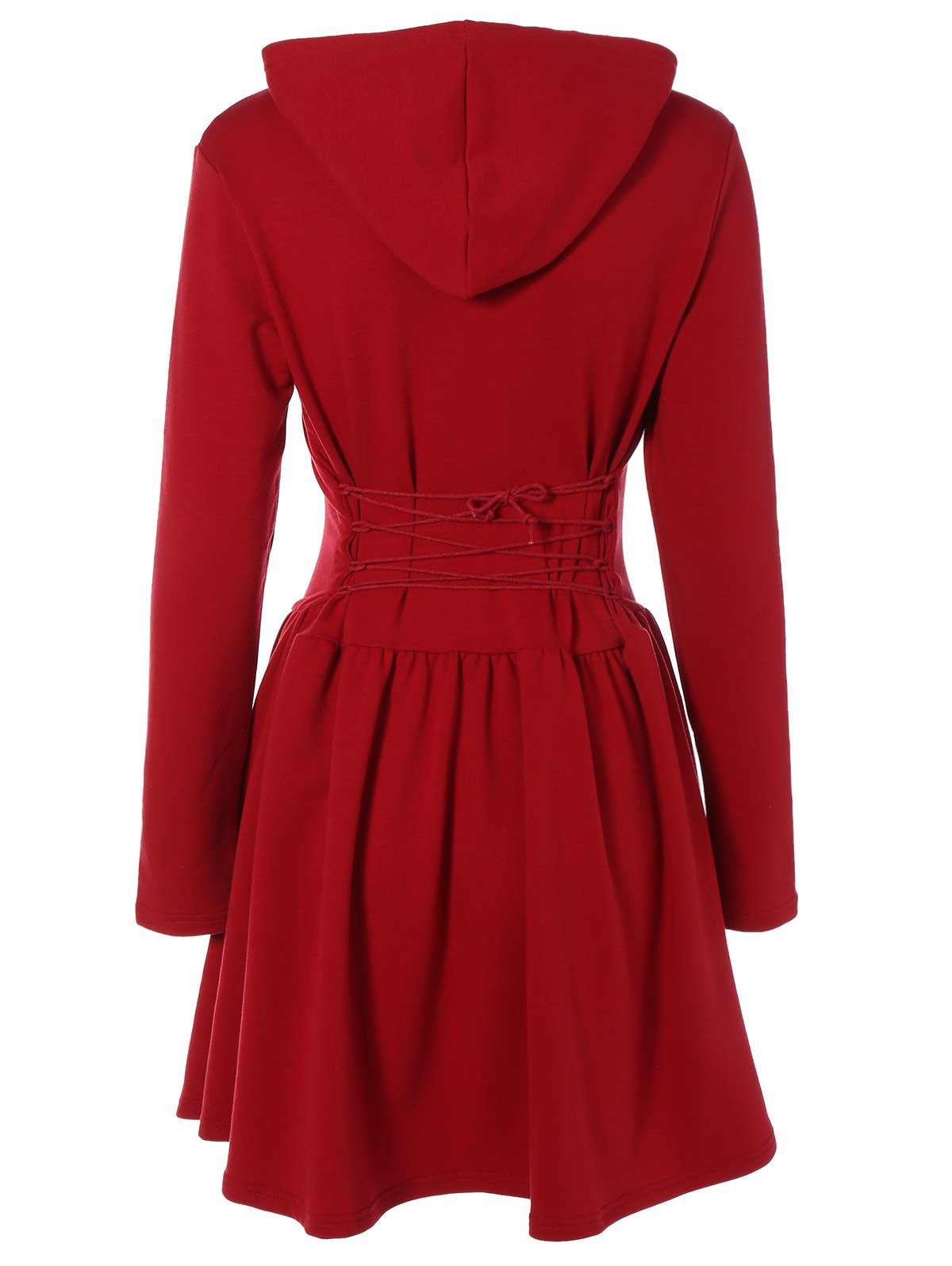 Online Hooded Long Sleeve Dress with Criss Cross