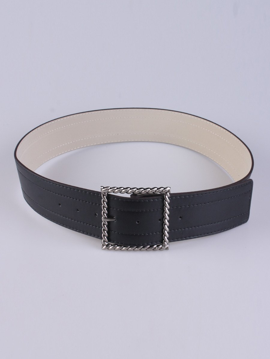 Trendy Coat Wear Hollow Twist Square Pin Buckle Belt
