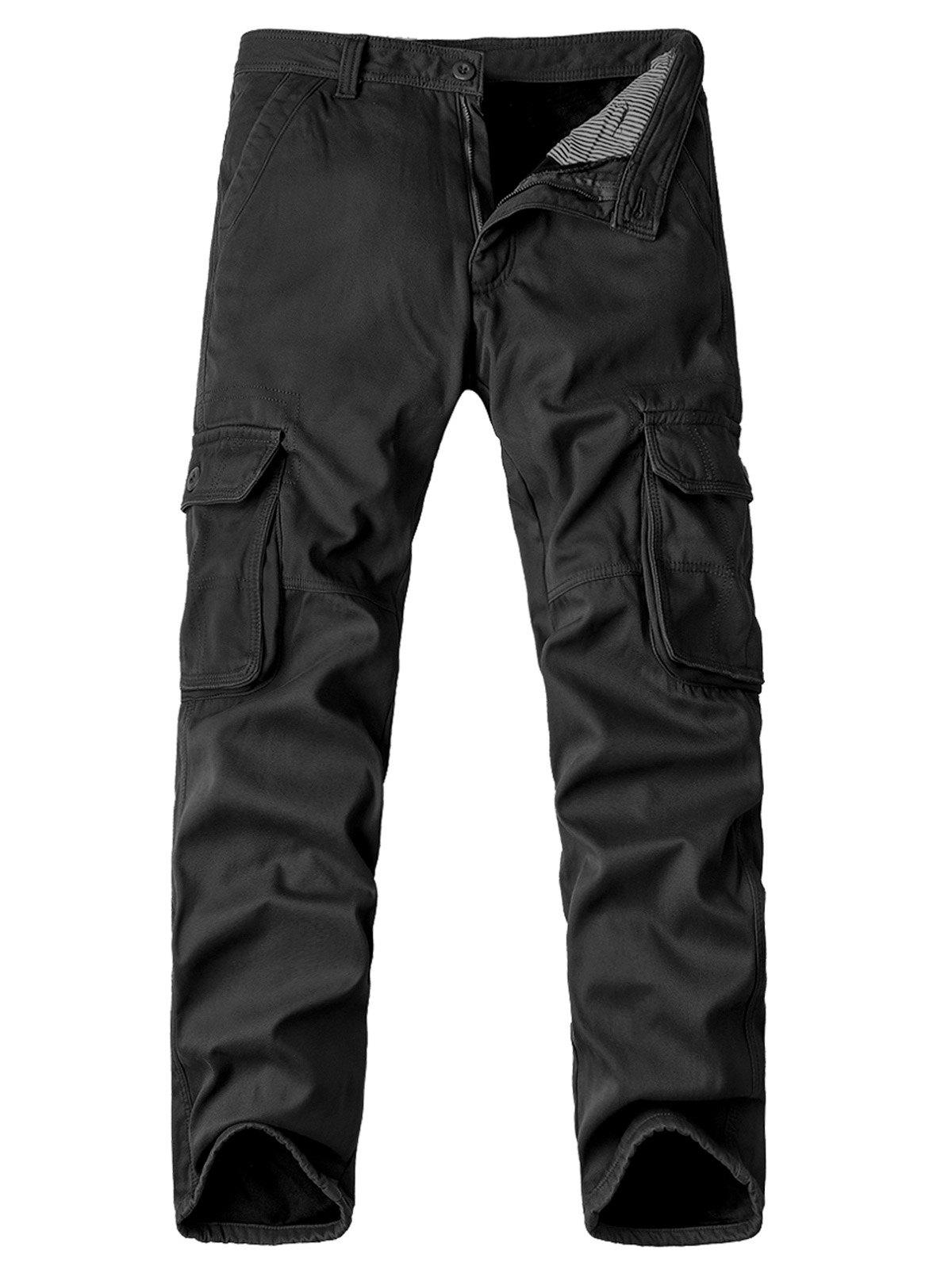 Chic Zipper Fly Pockets Embellished Straight Leg Fleece Cargo Pants