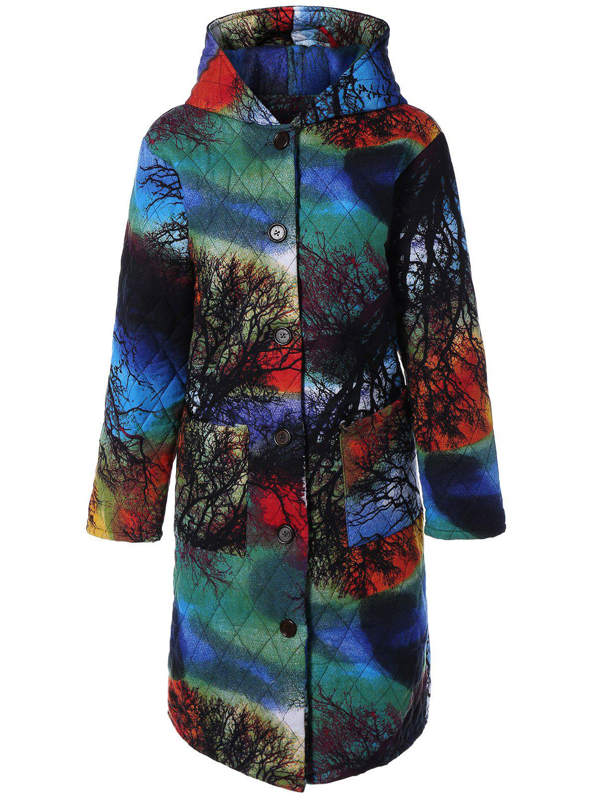 Shop Hooded Tree Print Plus Size Coat