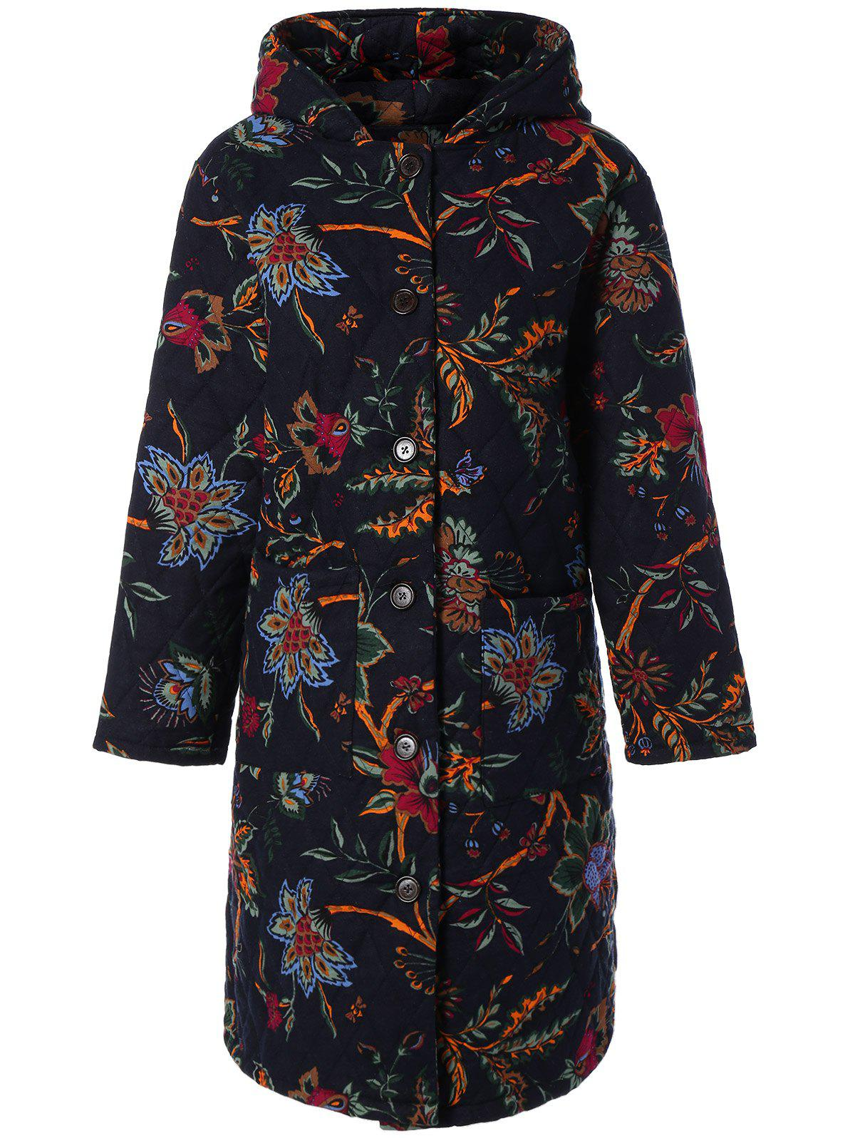 Hot Hooded Floral Print Plus Size Coat