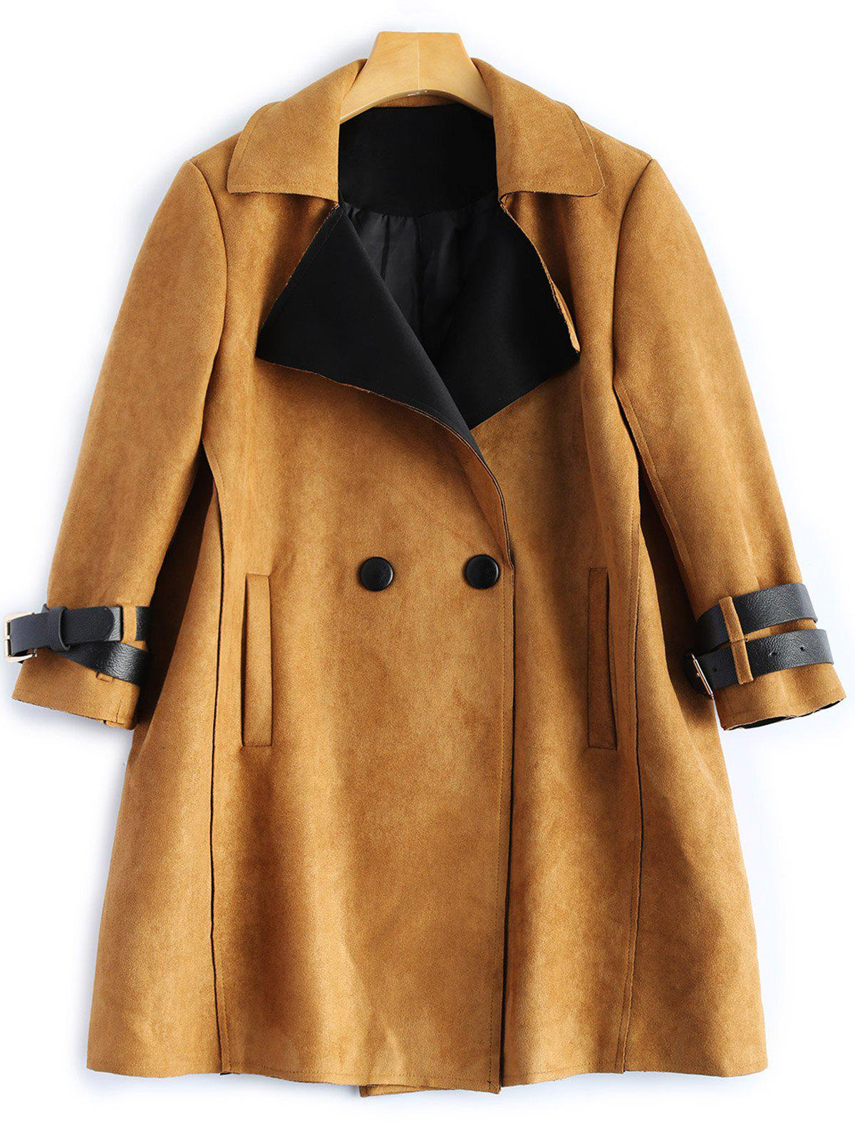 Chic Sueded Lapel Trench Coat