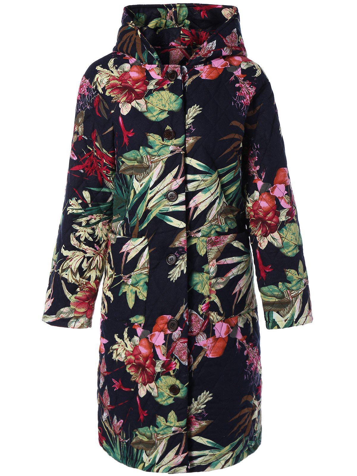 Trendy Hooded Floral Printed Plus Size Coat