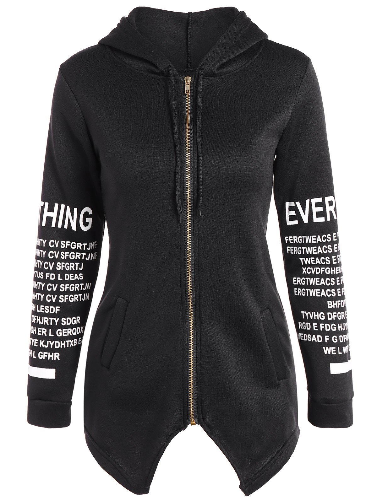Image of Zip Up Graphic Asymmetrical Hoodie