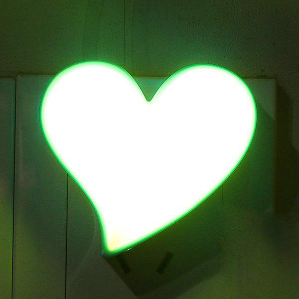 Гнездо электропитания Heart Shape тумбочке LED Night Light Синий и жёлтый