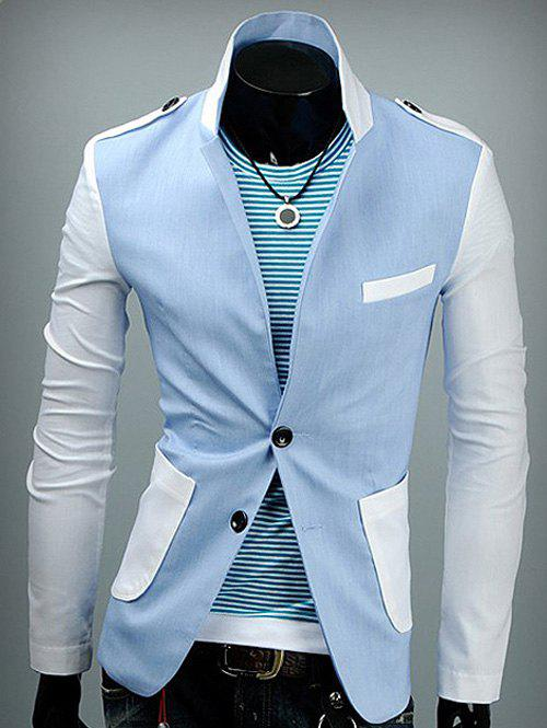 Outfit Epaulet Design Patch Pocket Back Vent Two Tone Blazer