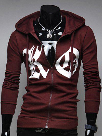 Outfit Pocket Front Zip Up Drawstring Graphic Hoodie