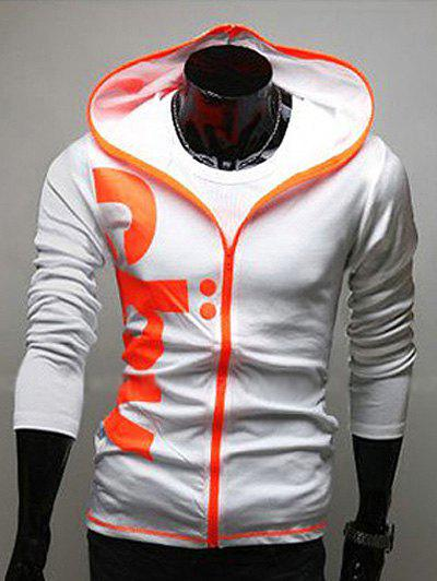 Slim Fit Contrast Zip Hoodie Graphic Blanc M