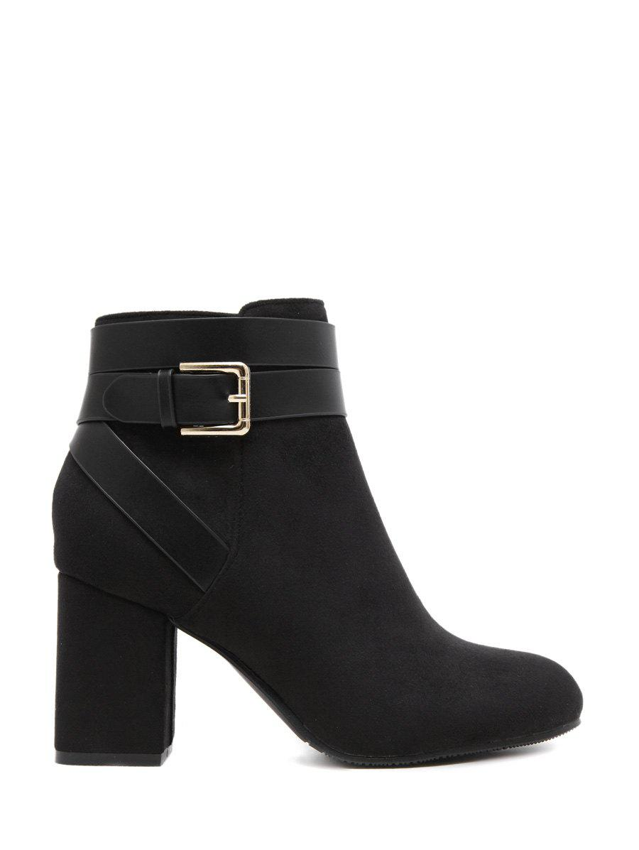 Latest Cross Straps Buckle Chunky Heel Ankle Boots