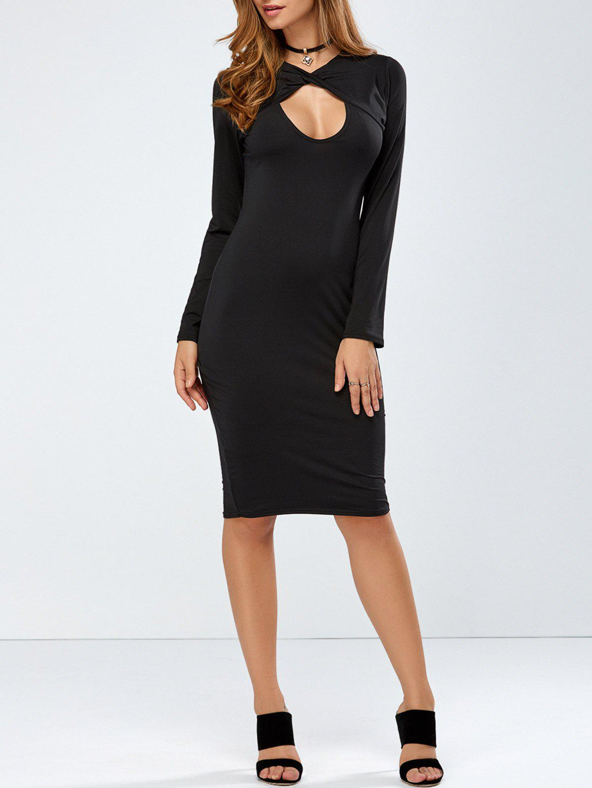 Chic Long Sleeve Keyhole Crossover Bodycon Dress