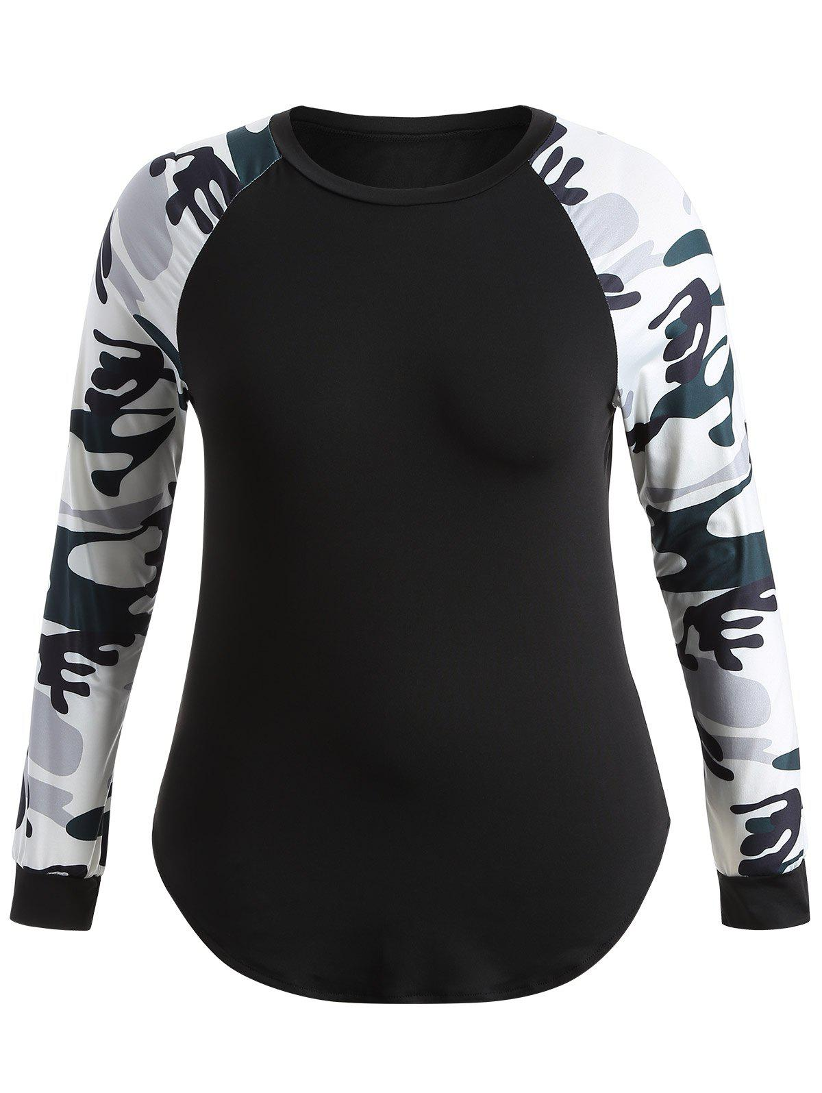 Plus Size Camo Splicing Raglan Sleeve T-ShirtWOMEN<br><br>Size: 3XL; Color: COLORMIX; Material: Cotton,Polyester; Shirt Length: Long; Sleeve Length: Full; Collar: Round Neck; Style: Casual; Season: Fall,Spring; Embellishment: Spliced; Pattern Type: Others; Weight: 0.350kg; Package Contents: 1 x T-Shirt;
