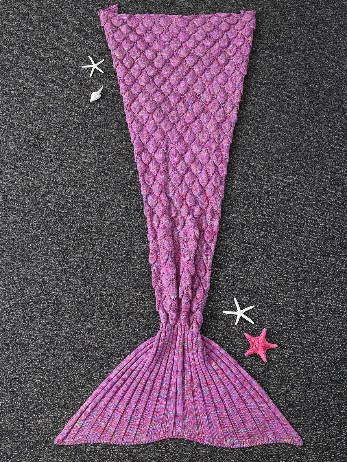 Trendy Soft Fish Scale Design Antipilling Sleeping Bag Wrap Mermaid Blanket