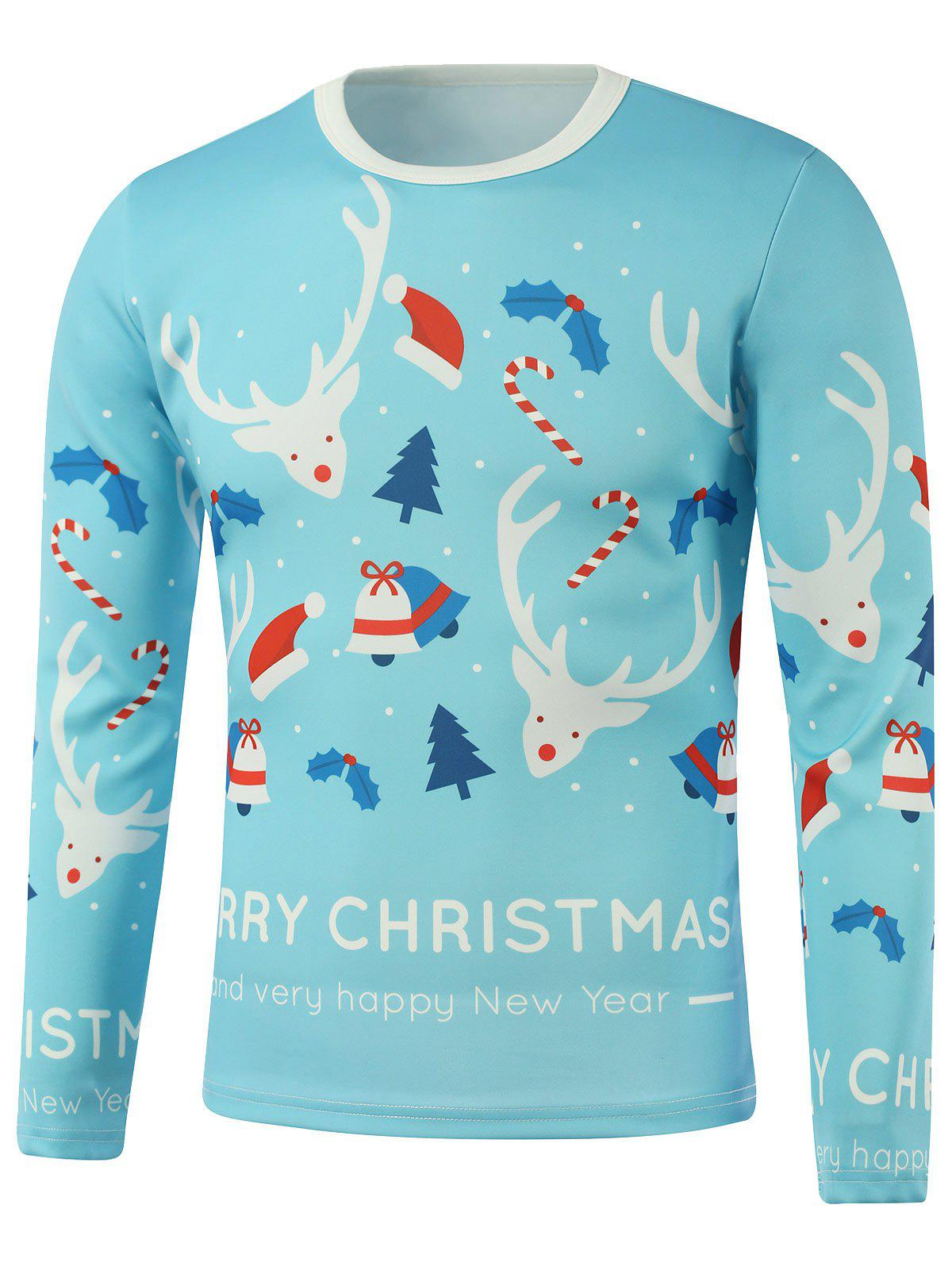 Merry Christmas Elk Candy Cane Printed Long Sleeve SweatshirtMEN<br><br>Size: 5XL; Color: LIGHT BLUE; Material: Cotton,Polyester; Shirt Length: Regular; Sleeve Length: Full; Style: Casual; Weight: 0.300kg; Package Contents: 1 x Sweatshirt;