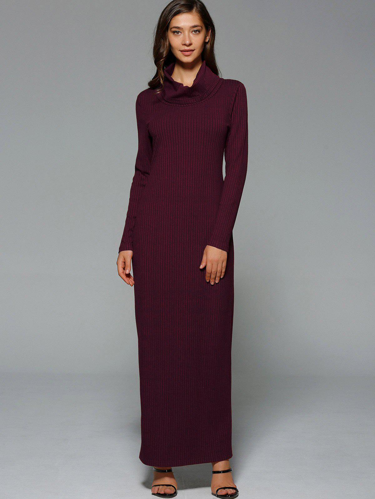 Affordable Maxi Slit Ribbed Long Sleeve Winter Dress