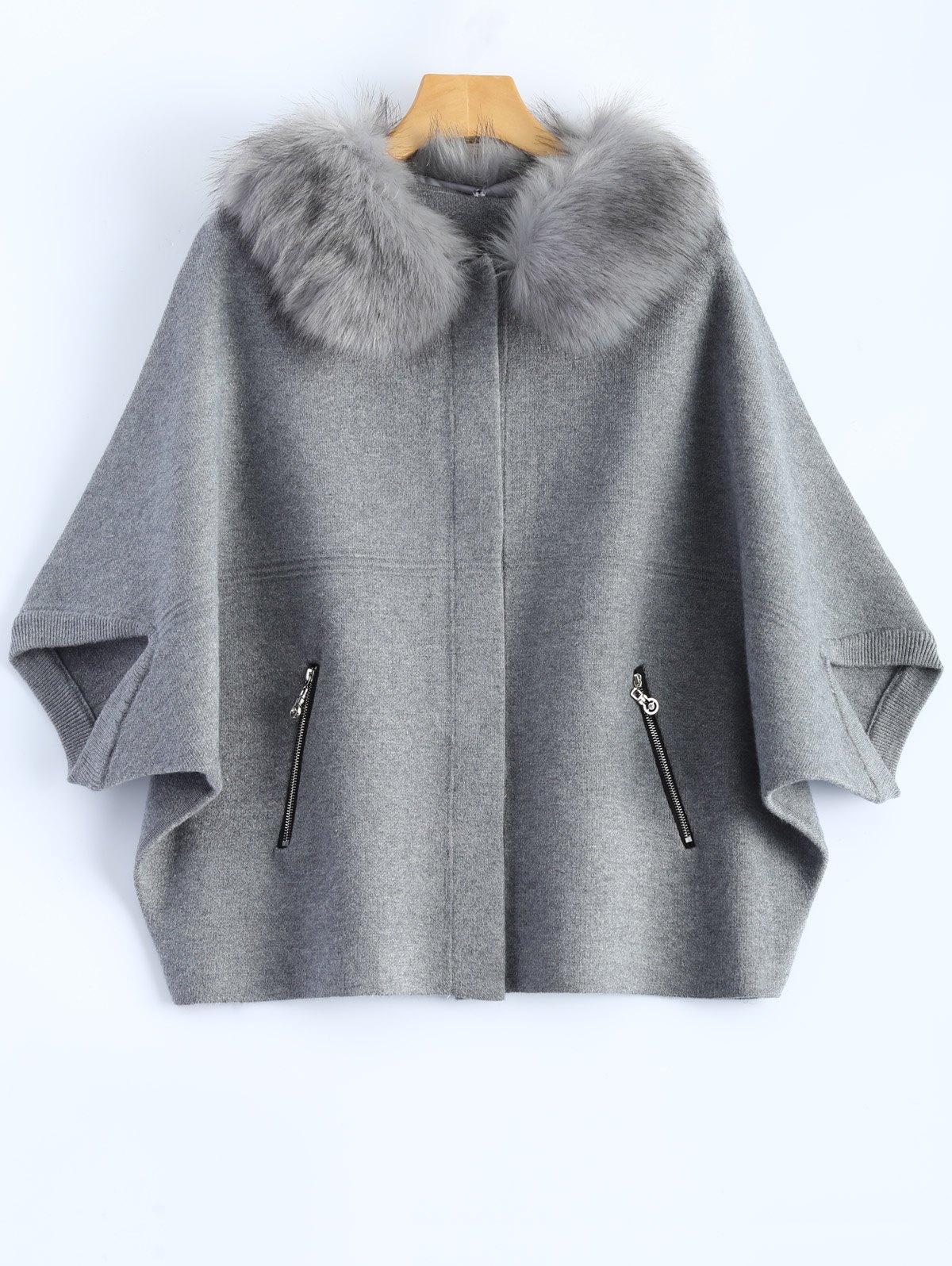 Outfit Plus Size Faux Fur Batwing Sleeve Zippered Coat