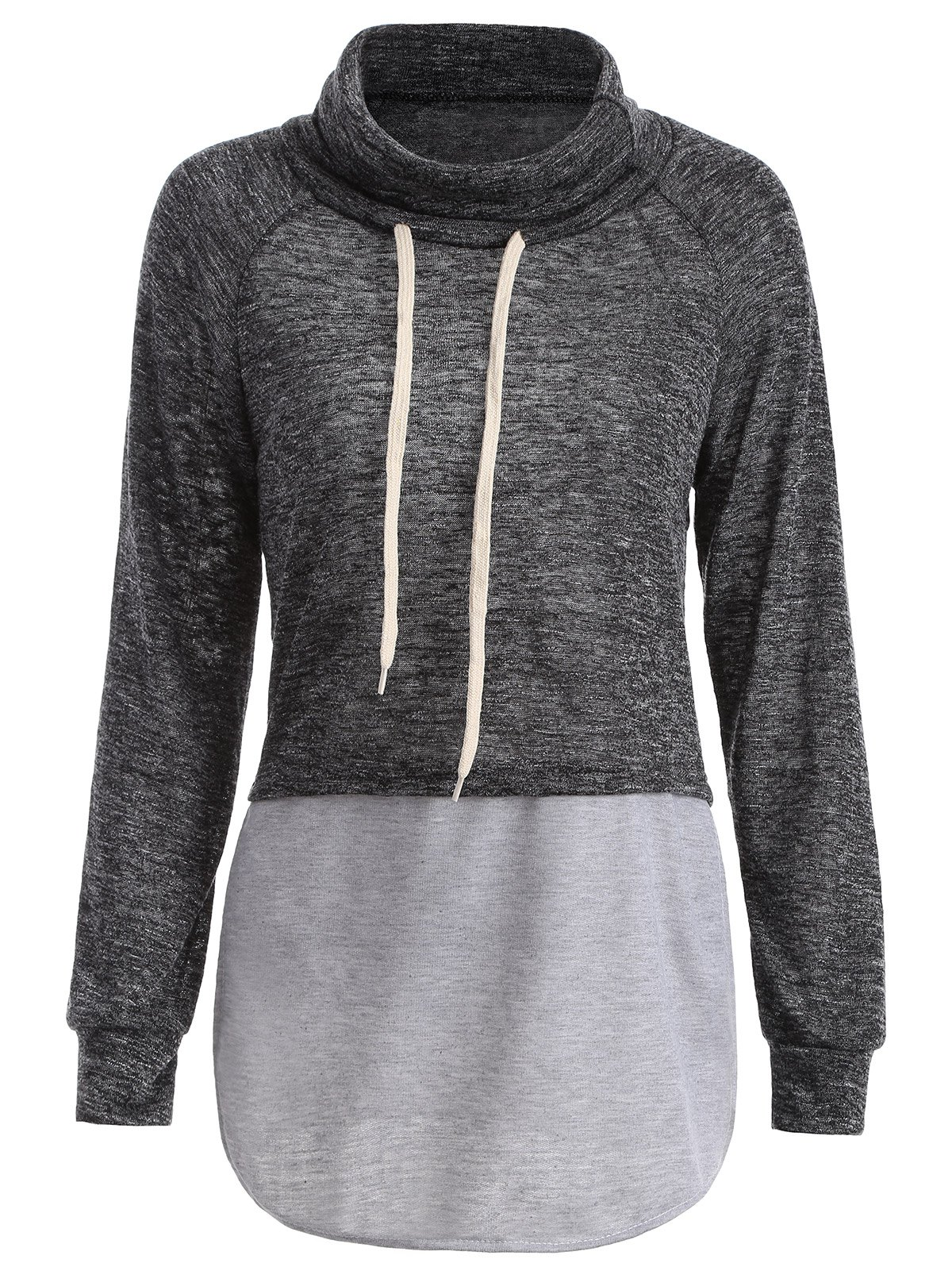 Cheap Color Block High Neck String Sweatshirt