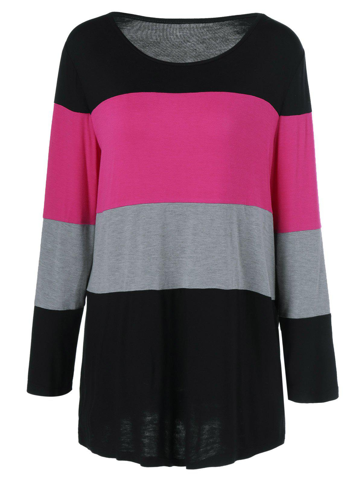 Plus Size Colorful Striped Comfy T-ShirtWOMEN<br><br>Size: 4XL; Color: BLACK AND PINK; Material: Polyester,Spandex; Shirt Length: Long; Sleeve Length: Full; Collar: Scoop Neck; Style: Casual; Season: Fall,Spring; Pattern Type: Striped; Weight: 0.313kg; Package Contents: 1 x T-Shirt;