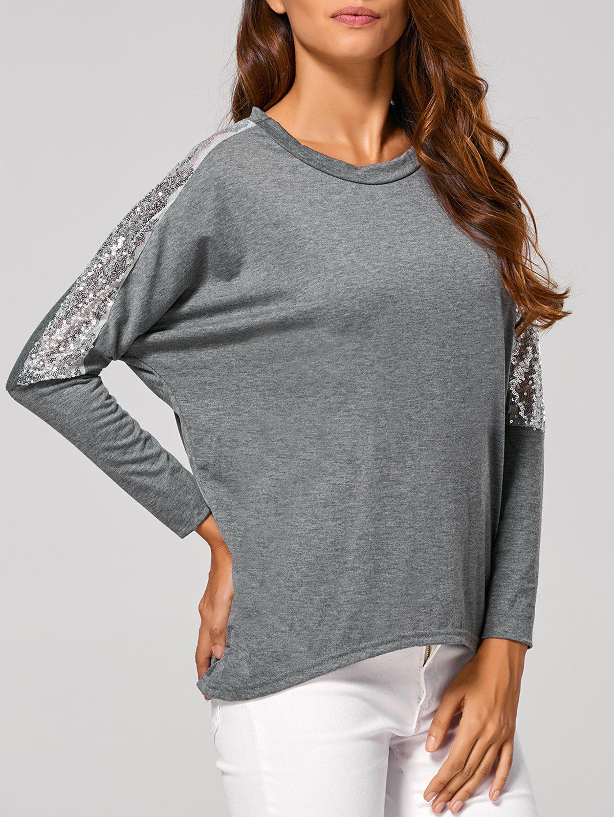 Fancy Batwing High Low Sequin T-Shirt