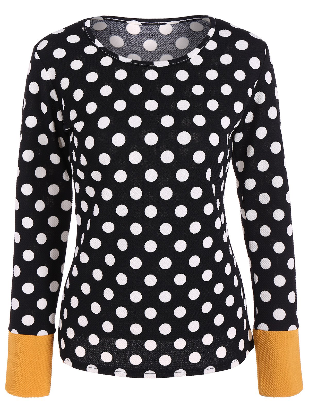 Trendy Scoop Neck Polka Dot Patchwork Sleeve T-Shirt