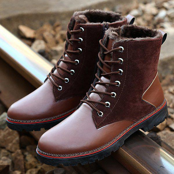 Online Vintage Suede Splicing Lace-Up Boots